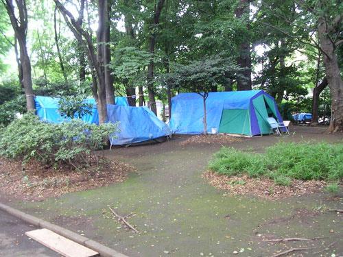 Homeless camp in Ueno